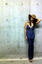 blue Earnest Sewn jeans - light brown Forever 21 hat - blue Forever 21 shirt