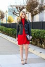 Red-zara-dress-black-forever-21-jacket