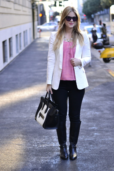 white Zara blazer - white Celine bag - black True Religion pants