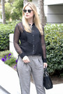 Black-equipment-blouse-heather-gray-topshop-pants