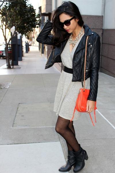 beige lamade dress - black Forever 21 jacket - carrot orange Rebecca Minkoff bag
