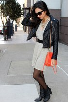 beige lamade dress - black Forever 21 jacket - carrot orange Rebecca Minkoff bag