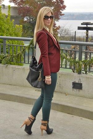 brick red Zara blazer - black Michael Kors bag - teal Zara pants