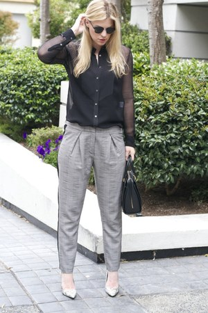 black Equipment blouse - heather gray Topshop pants