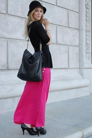 black Nine West heels - hot pink H&M dress