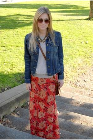 red Winter Kate dress - blue Gap jacket