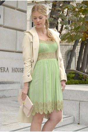 lime green Macys dress - eggshell cashmere coat