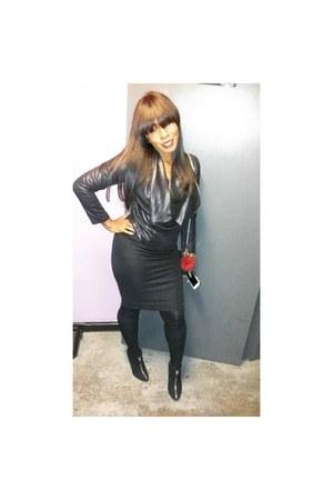 black suede Zara Zipper booties boots - black Zara Midi Fitted Dress dress