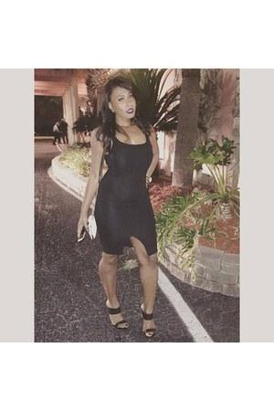 black Zara Sleeveless Fitted Midi Dress dress