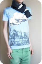 green jeans - blue designed by me t-shirt - blue made my myself scarf