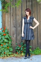 black thrifted dress - black Urban Outfitters flats - silver vintage necklace