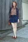 Navy-suede-vintage-skirt-brown-vintage-coach-bag-light-brown-bow-h-m-blouse