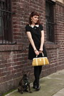 Black-h-m-dress-black-steve-madden-flats-yellow-vintage-bag