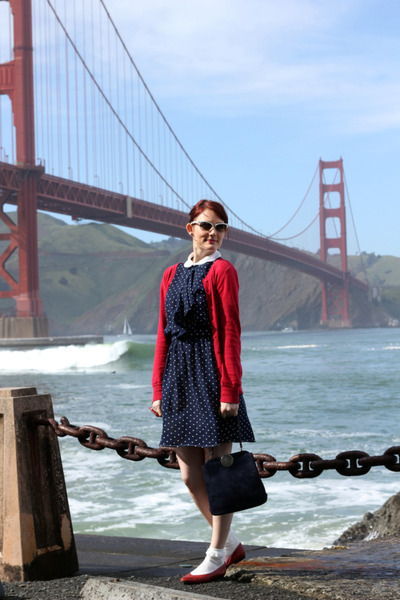 red vintage shoes - blue polkadot vintage dress - navy vintage bag - white H&M s