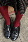 Black-steve-madden-shoes-black-vintage-sweater-brick-red-polka-dot-h-m-tight