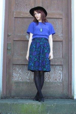 black Steve Madden shoes - blue vintage blouse - purple paisley vintage skirt -