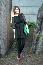 black polkadot H&M dress - hot pink Jeffrey Campbell shoes - green vintage bag