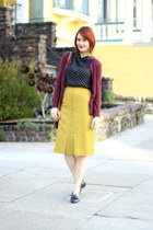 chartreuse thrifted vintage skirt - maroon Nordstrom cardigan