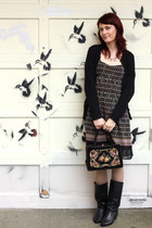 black vintage boots - pink thrifted dress - cream Anthropologie tights - black e