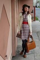 vintage dress - vintage hat - vintage bag - vintage belt - vintage cardigan