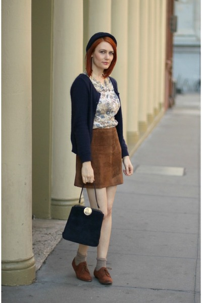 Light Brown Vintage Suede Skirt | Chictopia