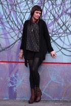 black H&M shorts - brown miz mooz boots - dark khaki thrifted blouse - camel ear