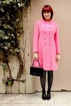 black thrifted vintage shoes - black tba dress - hot pink thrifted vintage coat