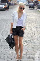 ASOS Leather shorts - Modern Vintage shoes - Alice Yim blazer - balenciaga bag