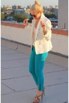 Zara blazer - Miu Miu shoes - Rich & Skinny jeans