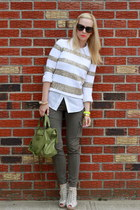 J Crew sweater - Michael Kors shirt - Karen Walker sunglasses - Zara pants