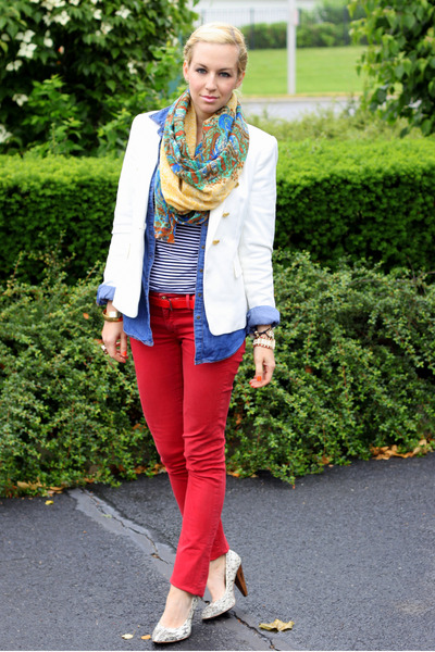 Rich & Skinny jeans - Zara blazer - H&M shirt - Lucky Brand scarf