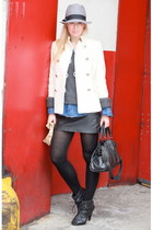 banana republic jacket - Zara leather skirt - H&M sweater