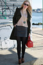 Nina shoes - asos coat - Louis Vuitton bag - leather Zara skirt