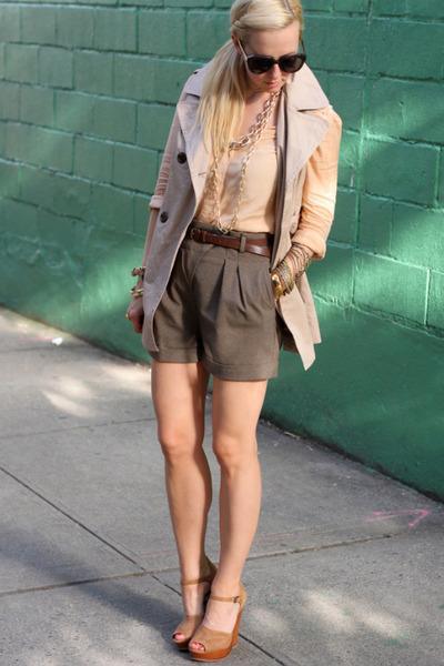 Top Shop shirt - Zara shorts - sam edelman wedges - Forever 21 vest
