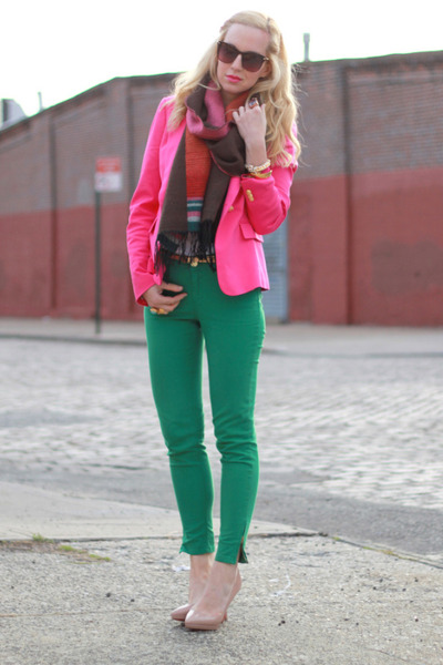 green Zara jeans - nude Christian Louboutin shoes - hot pink Zara blazer