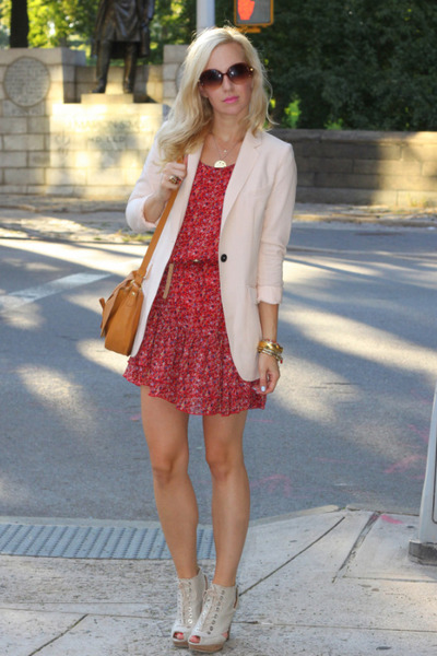 H&M blazer - stuart weitzman shoes - H&M dress - Mango bag