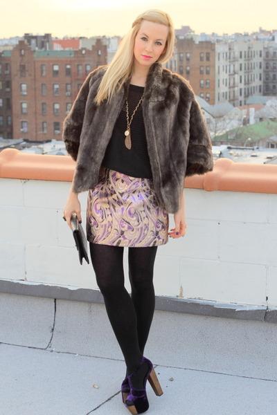 violet Jessica Simpson heels - H&M skirt - vintage jacket