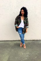 nude Zara sandals - sky blue H&M jeans - army green thrifted vintage jacket