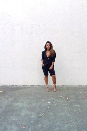 black DIY jeans - black H&M blazer - black bralette Urban Outfitters bra
