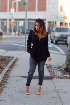 charcoal gray Zara jeans - black Zara blazer - nude Gianvito Rossi pumps