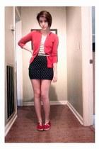 black stripes merona shirt - white Target shirt - red merona cardigan