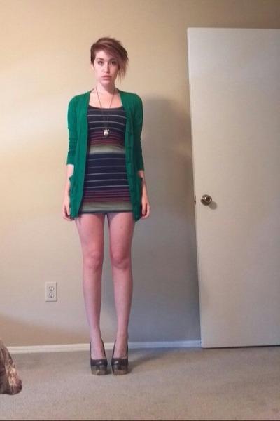 navy dress - green Target cardigan - bronze heels