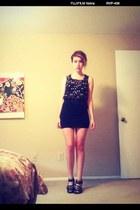 bow print blouse - skirt - studded heels