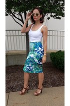 turquoise blue leaf print apt9 skirt - gold metal zeroUV sunglasses