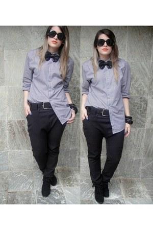 boots - shirt - tights - sunglasses