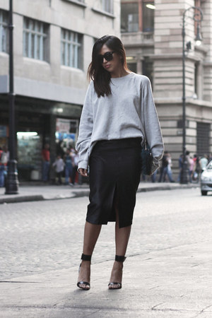 silver thrifted sweatshirt - black Local store sunglasses - black Zara heels