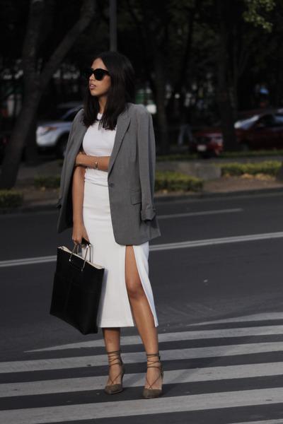 black Zara bag - heather gray thrifted blazer - olive green Zara heels
