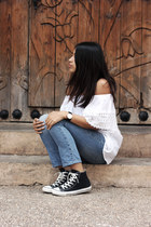 white by mexican artesans blouse - navy pull&bear jeans