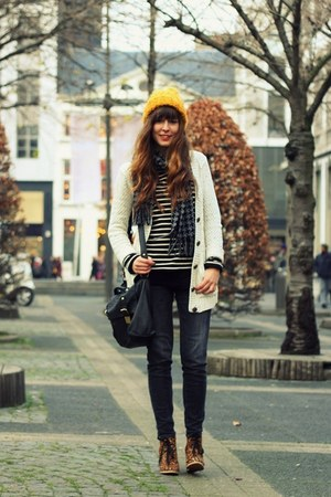 mustard wool H&amp;M hat - dark gray skinny Zara jeans - black satchel asos bag