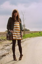 mustard striped Soaked in Luxury dress - dark green parka Forever 21 jacket